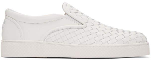 Bottega Veneta White Intrecciato Dodger Slip-On Sneakers