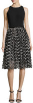 Carmen Marc Valvo Sleeveless Crepe & Embroidered Mesh Cocktail Dress, Black/Pewter