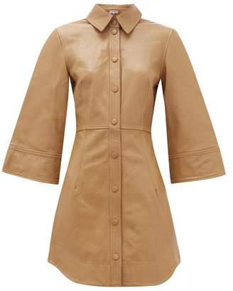 Ganni Buttoned Leather Mini Dress - Womens - Camel