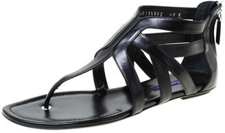 Ralph Lauren Black Leather T Strap Flat Sandals Size 40