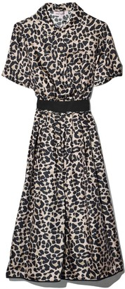 Dice Kayek Leopard Collared Dress in Beige