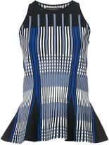 Roland Mouret peplum linear stripe top - women - Polyester/Viscose - S