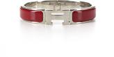 Hermes Red Enamel Silver Narrow Clic Clac PM Bracelet