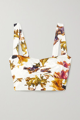 Jason Wu Collection Cropped Ruched Floral-print Washed-sateen Bustier Top - White