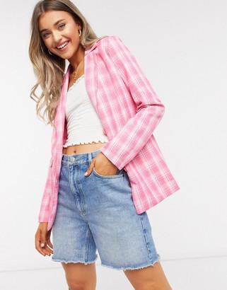 Heartbreak slouchy boyfriend blazer suit in pink check