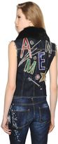 Amen Embellished Cotton Denim Vest W/ Lapin