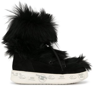 Premiata Faux-Fur Lace-Up Boots