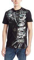 Southpole Men's High Density and Graphic T-Shirt with Asymmetric Plaid Backgrounds