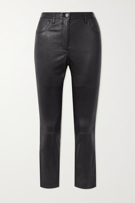 Theory Leather Skinny Pants - Black