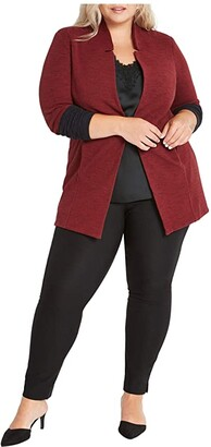 Nic+Zoe Plus Size Color-Block Me Jacket (Sumac) Women's Clothing