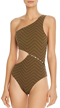 Red Carter Textured Maillot One Piece Swimsuit