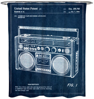 """Oliver Gal Boombox"""" 1978"""" Shower Curtain, 71""""x74"""""""