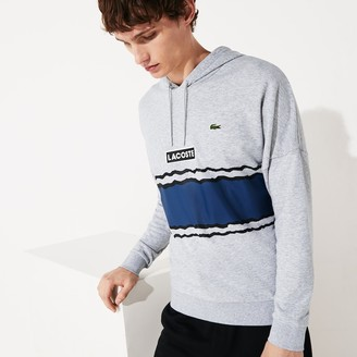 Lacoste Mens SPORT Logo and Banded Stripe Hoodie