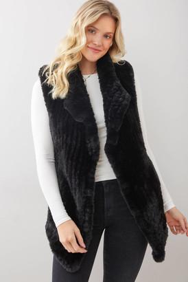 DOLCE CABO Faux Fur Long Vest Beige S