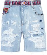 Dolce & Gabbana ripped detail denim shorts - women - Cotton/Calf Leather/Plastic/Viscose - 38