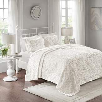 Nobrand No Brand White Amber Cotton Chenille Bedspread Set