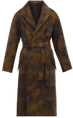 Ann Demeulemeester Belted Double Lapel Wool Coat - Mens - Multi
