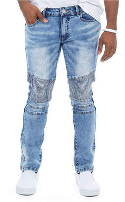 X-Ray Light Washed Denim Moto Jeans