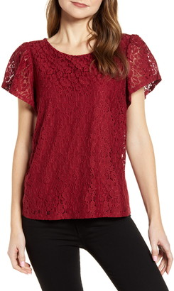Gibson Glam Flutter Sleeve Lace Front Cotton Blend Top