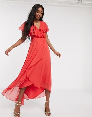 ASOS DESIGN cape back dipped hem maxi dress in red