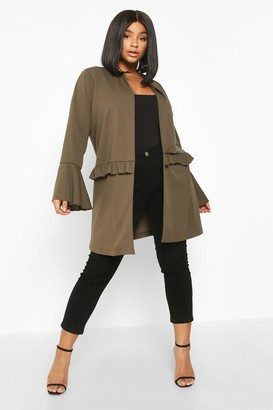 boohoo Plus Ruffle Detail Collarless Jacket