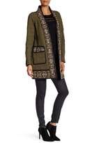 Rebecca Taylor Pocket Stitch Cotton Terry/Leather Embroidered Robe
