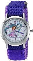 Disney Girl's 'Princess Sofia' Quartz Stainless Steel and Nylon Casual Watch, Color:Purple (Model: WDS000268)