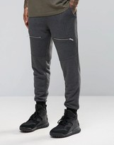 Asos Skinny Joggers With Biker Detail In Charcoal Marl