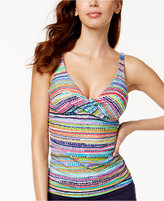 Anne Cole Striped Bra-Sized Underwire Tankini Top