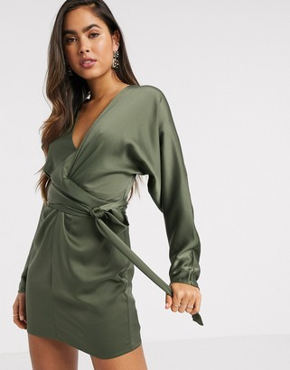 ASOS DESIGN mini dress with batwing sleeve and wrap waist in Khaki satin