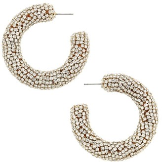Rebecca De Ravenel 2-Piece Mini Crystal Silvertone Hoop Earrings