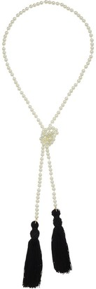 Kenneth Jay Lane White Pearl Necklace w/Black Tassels White Pearl/Black One Size