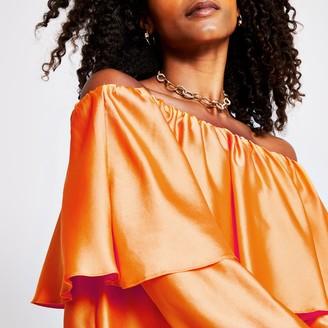 River Island Womens Orange layer frill bardot top