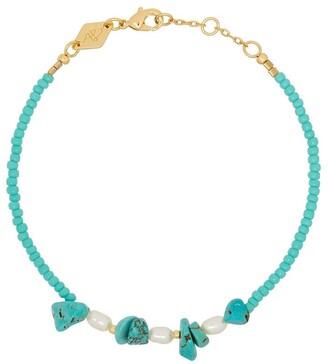 Anni Lu 18K gold-plated Emmanuelle turquoise beaded bracelet