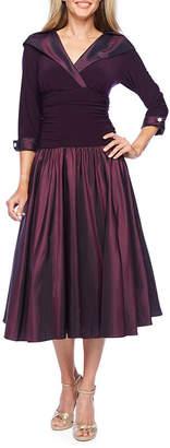 R & M Richards 3/4 Sleeve Midi Fit & Flare Dress