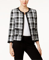 Nine West Plaid Open-Front Jacket