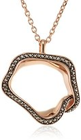 Babette Wasserman Rose Gold and Marcasite Open Flower Necklace of 37.3cm