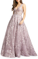 Mac Duggal Floral Embroidered V-Neck Sleeveless A-Line Gown