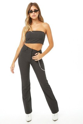 Forever 21 Pinstriped Cropped Tube Top Pants Set