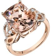 Ice 7 1/6 CT TW Morganite 14K Rose Gold Side Accented Fashion Ring with Diamond Acccents