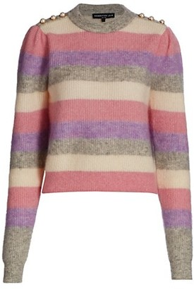 Generation Love Brielle Pearl-Button Trimmed Striped Sweater