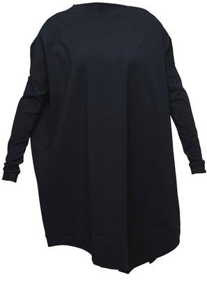 Non+ Non478 Black Asymmetric Tunic Dress With Long Sleeves