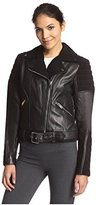 Nicole Miller Women's Leather Combo Moto Jacket