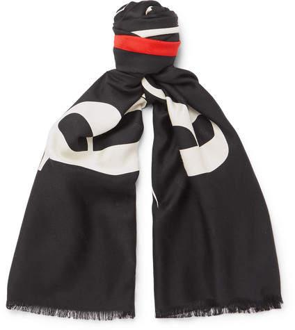 Balenciaga Fringed Printed Silk And Wool-Blend Jacquard Scarf