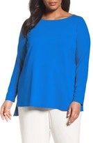Eileen Fisher Plus Size Women's Eielen Fisher Long Sleeve Jersey Top