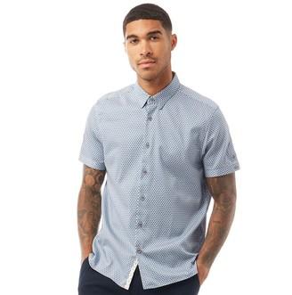 Ted Baker Mens Gudvu Short Sleeve Geo Print Shirt Blue
