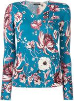 Roberto Cavalli floral print top - women - Silk/Cashmere/Wool - 40