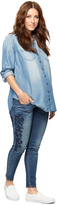 A Pea in the Pod Luxe Essentials Denim Embroidered Skinny Maternity Jeans