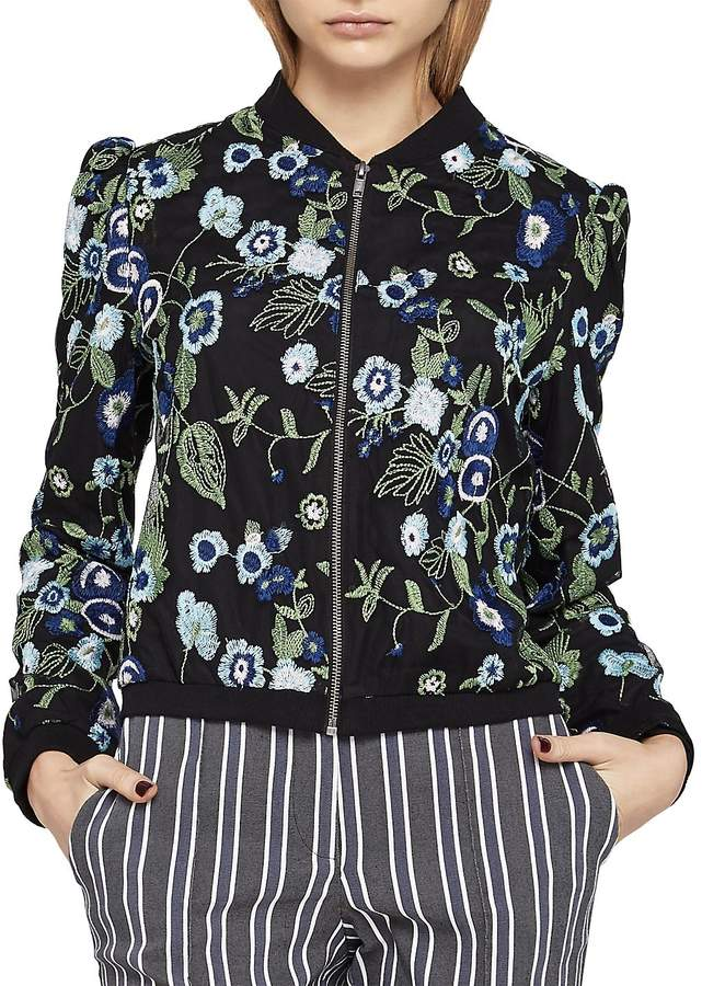 BCBGeneration Women's Floral Embroidered Bomber Jacket