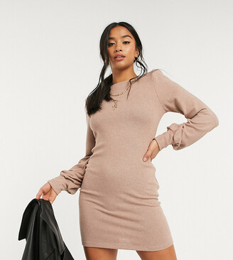 ASOS DESIGN Petite mini dress in super soft with padded shoulders in brown